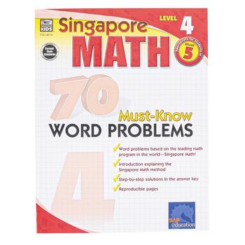 Carson-Dellosa, Singapore Math 70 Must-Know Word Problems Level 4 Workbook, Reproducible, Grade 5