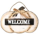 Welcome Pumpkin Wall Plaque, Wood, 18 1/2 x 13 1/4 inches