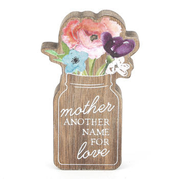 Collins Painting & Design, Mother Another Name for Love Cutout Block, Wood, 3 x 5 x 3/4 inches