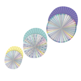 Teacher Created Resources, Iridescent Hanging Paper Fans, Multi-Colored, Set of 3