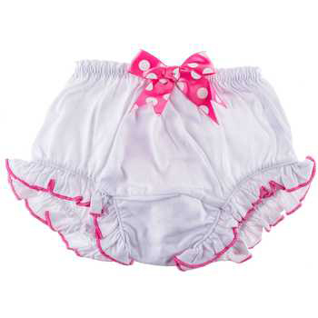 Creations of Grace, Miss Priss Diaper Cover, White with Hot Pink, 1 pair
