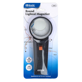 Bazic Products, Round Lighted Magnifier, 3X Maginfication, Black, 2 1/2 x 6 1/2 inches