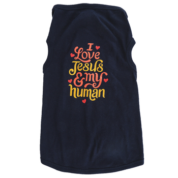 Paws & Praise, I Love Jesus and My Human, Dog T-Shirt, Navy, S-XL