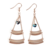 By His Grace, Curved Bars with Heart Charm Dangle Earrings, Zinc Alloy and Iron, Rose Gold