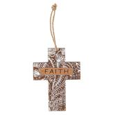 Faith Floral Mini Wall Cross, MDF, Brown & White, 5 1/2 x 4 1/4 inches