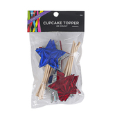 Brother Sister Design Studio, Patriotic Foil Star Cupcake Toppers, 3 1/4 x 1 1/4 inches, Pack of 24