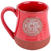 Abbey and CA Gift, Firefighter Pottery Coffee Mug, Handcrafted Stoneware, Red, 20 ounces