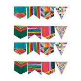 Color Me Brilliant Collection, Pennant Banner, 8 Designs, 16 Flags, 12 Feet