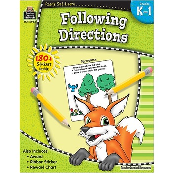 Ready-Set-Learn Activity Book: Following Directions, 64 Pages, Grades K-1