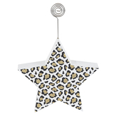 Gold Glitter Leopard Star Wood Block Stand with Metal Photo Clip, White and Black, 5.25 x 5 x 1 Inch
