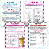 Teacher Created Resources, Algebraic Expressions and Equations Poster Set, 17 x 22 Inches, 4 Pieces