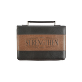 Christian Art, Strength Bible Cover, Black and Tan, Multiple Sizes Available