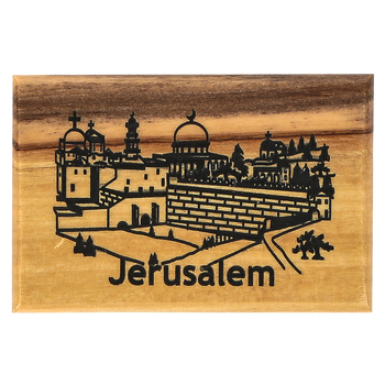 Logos Trading Post, Jerusalem City Horizontal Magnet, Olive Wood, 2 3/8 x 1 5/8 inches