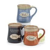 Burton + Burton, Christian Messages Coffee Mug Assortment, Stoneware, 16 Ounces