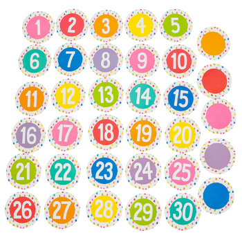 Schoolgirl Style, Hello Sunshine Student Numbers Cut-Outs, 3 Inches, 9 Colors, 35 Pieces