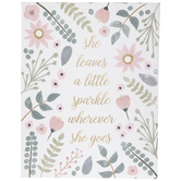 She Leaves A Little Sparkle Wall Decor, Canvas, White and Pink, 14 x 11 x 1 1/4 inches
