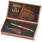 Dicksons, Jeremiah 17:7 Man of God Boxed Pen and Keyring Set, Silver and Faux Wood, 7 3/8 x 3 3/4 x 1 1/4 Inches