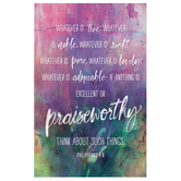 Salt & Light, Philippians 4:8 Whatever Is Church Bulletins, 8 1/2 x 11 inches Flat, 100 Count