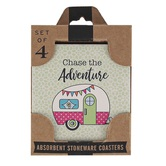 Carson Home Accents, Camper Coaster Set, Stoneware, Multi-Colored, 4 x 4 inches, Box of 4