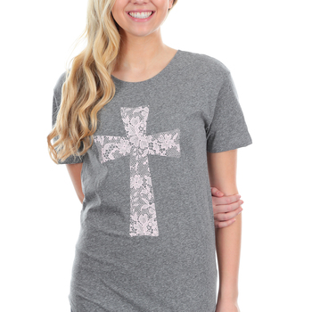 NOTW, Lace Cross, Women's High Low Fashion Top, Heather Gray and Pink, XS-2XL