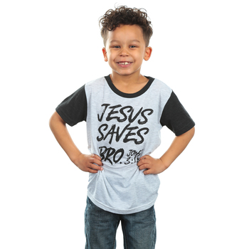 NOTW, John 3:16, Jesus Saves Bro, Kid's Short Sleeve T-Shirt, White and Black, XS-L