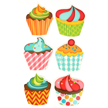Renewing Minds, Happy Birthday Cupcakes Cutouts, Multi-Colored, 6.5 x 9 Inches, 36 Pieces