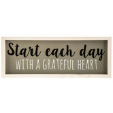 Grateful Heart Wall Plaque, MDF, Gray, 19 1/2 x 7 3/8 x 1 1/4 inches