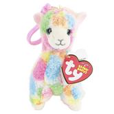 Ty Beanie Boos, Lola the Llama Clip Stuffed Animal, Rainbow, 5 inches