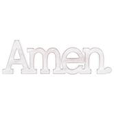 Amen Wall Art, MDF, White, 15 3/4 x 5 inches