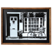 Bicycle and Plants on Front Porch Wall Decor, MDF, Black and White Photo, 16 x 22 x 1 1/4 inches