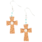 Wildflower Road, Leather Cross Dangle Earrings with Pearl, Brown