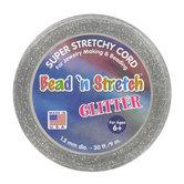 Glitter Bead 'n Stretch Cord, Silver, 30 feet
