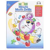 Carson-Dellosa, More Minute Math Drills Resource Book, Reproducible Paperback, 128 Pages, Grades 3-6