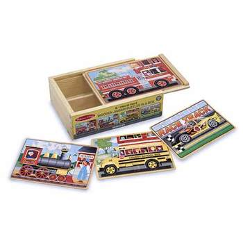 Melissa & Doug, Vehicles Boxed Wooden Jigsaw Puzzles, Ages 3 to 6 Years Old, Set of 4, 48 Pieces