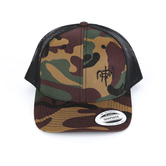 NOTW, Camo Snapback Adjustable Hat, Dark Green Camo and Black Mesh