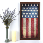 Four Score and Seven Years Ago Classic Flag Wall Art, MDF, Red, White, and Blue, 28 x 15 inches