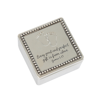Precious Moments, James 1:17 Baby Footprints Trinket Box, Zinc Alloy, Silver, 2 x 2 x 1 1/4 inches
