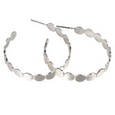 Mercy Adorned, Proverbs 3:9-10 Hoop with Scalloped Edges Dangle Earrings, Zinc Alloy, Brushed Silver