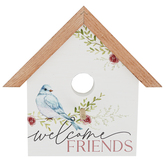 P. Graham Dunn, Welcome Friends Table Plaque, Wood, White, 9 1/2 x 10 x 1 3/4 inches