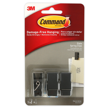 Command, Small Spring Clips, Slate, 3 Pack