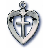 H.J. Sherman, Small Heart With Cross Pendant Necklace, Silver, 18 Inch Chain