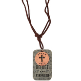 Soul Anchor, Psalm 46:1 God is Our Refuge Tag Necklace, Zinc Alloy/Faux Leather, Silver/Copper/Brown, 24 inches