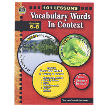 Teacher Created Resources, 101 Lessons Vocabulary Words in Context, Reproducible, 112 Pages, Grades 6-8