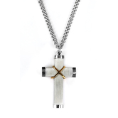H.J. Sherman, Brushed Stainless Steel Cross, Men's Necklace, 24 inches