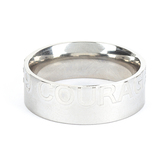 Spirit & Truth, Joshua 1:9, Courageous, Men's Ring, Stainless Steel, Silver, Sizes 8-12