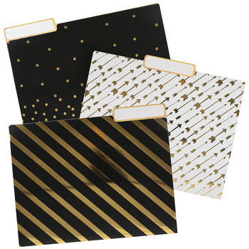 Glimmer of Gold Collection File Folders, 3 Assorted Designs, Black, Gold, White, 11 x 8.5 Inches, 12 Count