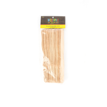 Woodpile Fun, Wooden Wavy Edged Fan Sticks, Natural, 8 inches, 24 Count