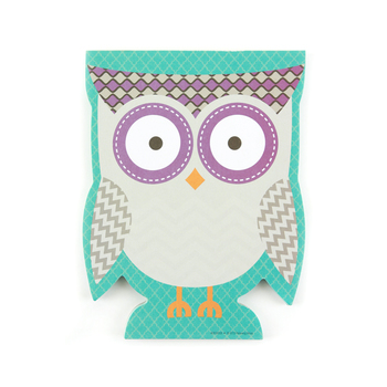 Renewing Minds, Owls Shaped Notepad, 6.25 x 8 inches, Grey Chevron Owl on Blue Quatrefoil, 50 Sheets
