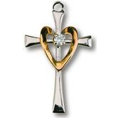Cross/Open Heart 2-Tone Pendant Necklace