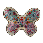 Natural Life, Butterfly Trinket Bowl, Ceramic, 4 1/2 x 5 3/4 x 2 inches